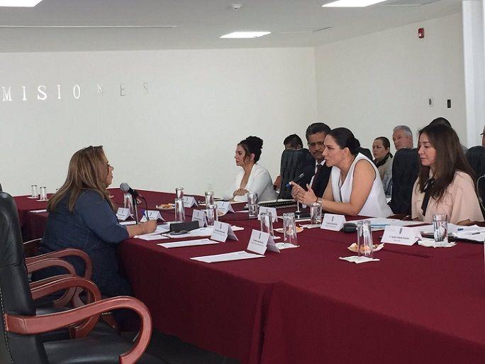 Fue recibida en el Salón de Comisiones, por la diputada Tania Valentina Rodríguez Ruiz, quien preside las comisiones de Desarrollo Económico y el Trabajo, Previsión y Seguridad Social, y otras legisladoras; conforme avanzó la comparecencia, únicamente se quedó al presidenta de ambas comisiones