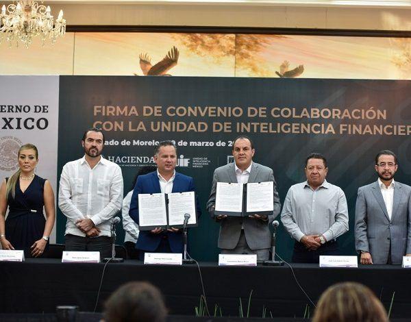 En el evento, Santiago Nieto Castillo titular de la UIF celebró la voluntad demostrada por el gobierno de Cuauhtémoc Blanco para colaborar con el Gobierno de la Cuarta Transformación para combatir la corrupción