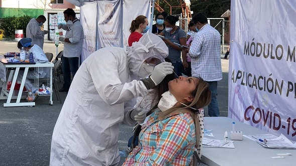Óscar Daniel Ortiz Orozco, director de Atención Médica de SSM, explicó que estas pruebas están validadas por Instituto de Diagnóstico y Referencia Epidemiológicos (InDRE) dependiente de la Dirección General de Epidemiología (DGE) y tienen una sensibilidad mínima del 80 por ciento y una especificidad mínima del 97.