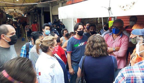 se comprobó que los comerciantes del López Mateos tienen toda la disponibilidad para ofrecer a los clientes un Mercado seguro, limpio y ordenado de acuerdo con las nuevas normas de sanidad