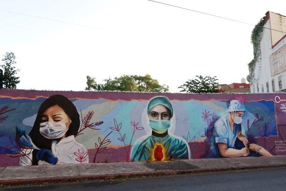 Fue develado un mural dedicado a los Héroes de la Salud, obra del Colectivo CreActivo con apoyo del Instituto de la Juventud de Cuernavaca