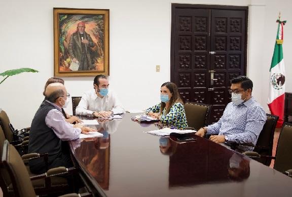 El secretario de Gobierno, Pablo Ojeda se reunió con Carlos Alberto Puig Hernández, magistrado presidente y Martha Elena Mejía, magistrada del Tribunal Estatal Electoral (TEE) respectivamente, a fin de coordinar esfuerzos institucionales, que permitan garantizar jornadas pacíficas y seguras